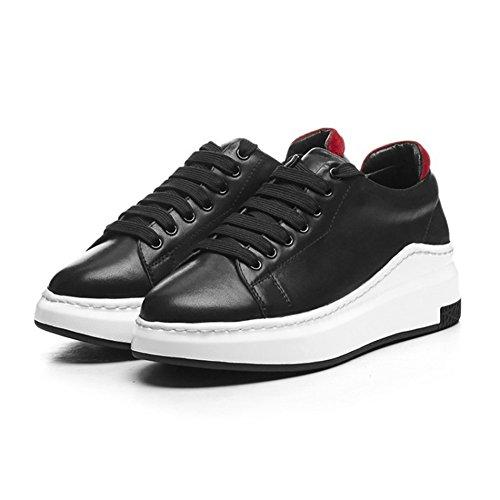 Verano tamaño tacón de Primavera Zapatos Zapatos Zapatillas Deportivos de Zapatos Zapatos de Shoelace Casuales Mujer Baja Color de Tie de Plano 37 de Muffin de Ayuda Zapatos Negro Mujer w11qgpz