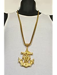 14k Gold Filled 6mm Stainless Steel Franco Chain W Anchor Cross Pendant Necklace
