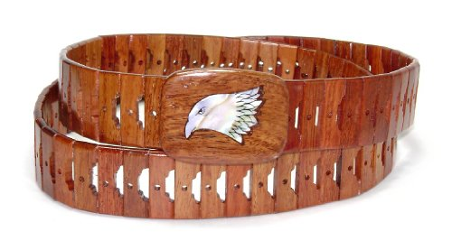 Wooden Belt with EAGLE Head Beak Closed Picture Design Solid Wooden Buckle