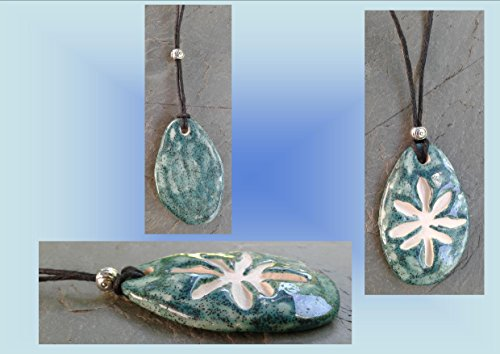 Aquamarine Marijuana Leaf Ceramic Aromatherapy Necklace Essential Oil Diffuser Pendant Cannabis Pottery