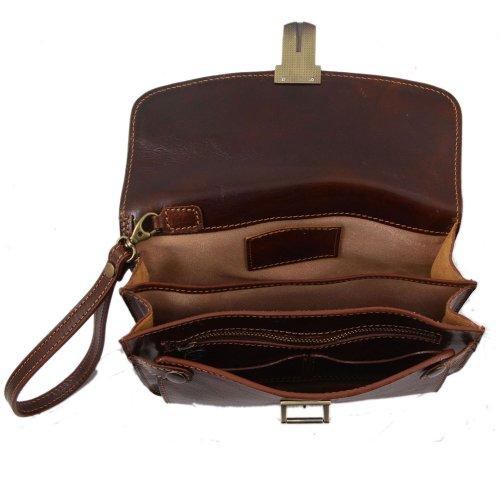 Tuscany Leather - Cartera de mano de piel de cerdo para hombre marrón marrón