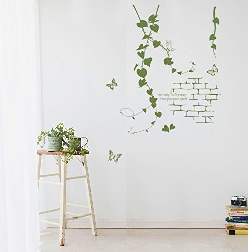 TOTOMO #W160 Vine On Brick Wall Decals Removable Wall Decor Decorative Painting Supplies & Wall Treatments Stickers for Girls Kids Living Room Bedroom