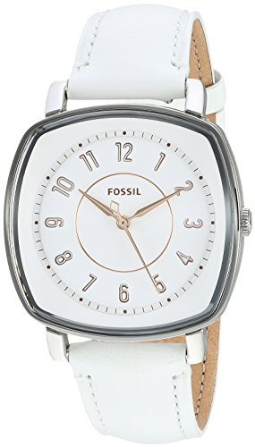 Fossil Women's 'Idealist' Quartz Stainless Steel and Leather Casual Watch, Color:White (Model: ES4216)