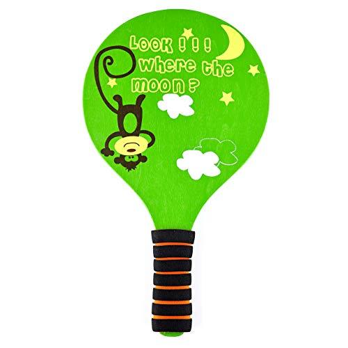 Classic Wooden Paddle Ball Game Set,Fun Racquet Game,Indoor Outdoor Easiest Racket Game (2 Thicker Wooden Rackets,4 Waterproof Birdies,1 Carry Bag)(Green)