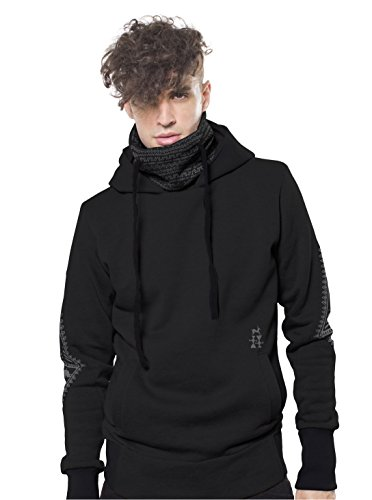 Street Habit Men's Drawstring Hoodie Cave Man Drawing Printed Graphic Cowl Neck Pullover Med Black