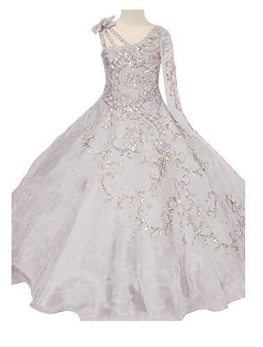 GreenBloom Little Girls' Bowknot One-Shoulder Long Sleeves Beaded Sequins Embroidery Pageant Ball Gown Evening Dress White ()