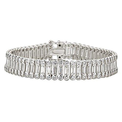 Decadence Women's Sterling Silver Rhodium Bezel and Baguette 10mm Tennis Bracelet, 7.5