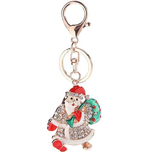 Car Key Ring Dangle Colorful Crystal Santa Claus Chain (Santa Dangle)