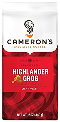 Cameron's Coffee Roasted Whole Bean Coffee, Flavored, Highlander Grog, 12 Ounce from Cameron Coffee