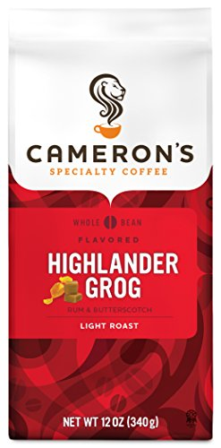 Cameron's Coffee Roasted Whole Bean Coffee, Flavored, Highlander Grog, 12 Ounce