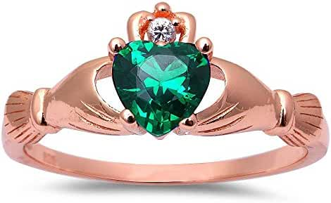 Rose Gold Plated Simulated Green Emerald Cubic Zirconia Calddagh .925 Sterling Silver Ring Sizes 4-11
