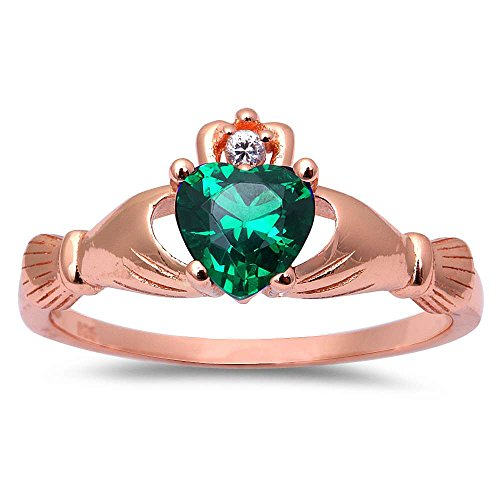 Oxford Diamond Co Rose Gold Plated Simulated Green Emerald Cubic Zirconia Calddagh .925 Sterling Silver Ring Sizes 9