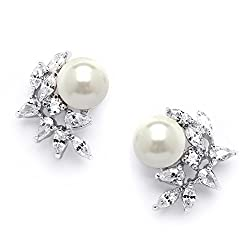 Ivory Pearls and CZ Cluster Earrings With Cubic Zirconia