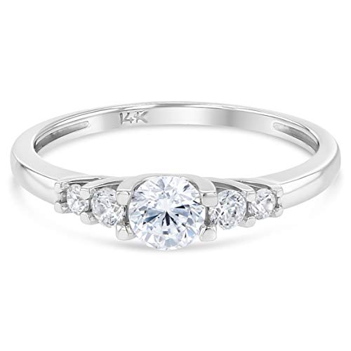 Ioka - 14K Solid White Gold Tri Stone CZ Simple Wedding Engagement Ring - Size 6