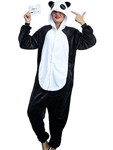 iSZEYU Adult Onesies for Women Men Teens Panda Pajamas Animal Halloween Costume (M Fit Height 63