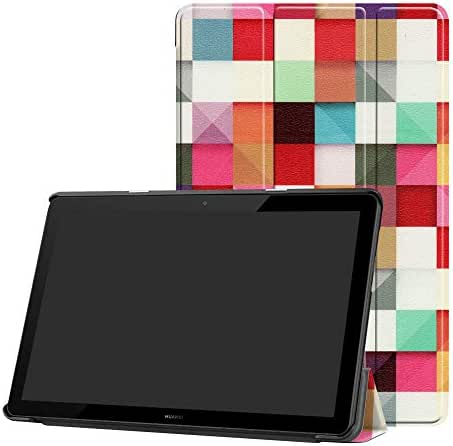 MediaPad T5 10-Inch 2018 Slim Shell Case,Bige Ultra Lightweight PU Leather Standing Cover for Huawei MediaPad T5 10-Inch 2018 Tablet,Magic Cube