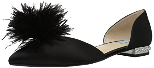 Blue by Betsey Johnson Women's Sb-Anna Pointed Toe Flat, Black Satin, 6.5 M US