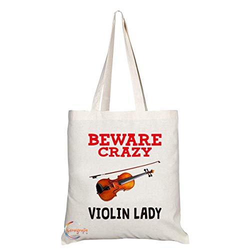 Violin Beware Handled Crazy Stylish Novelty TB341 Lady Tote Long Present Gift Shoulder Eco Bag Printed Friendly qaAdTE