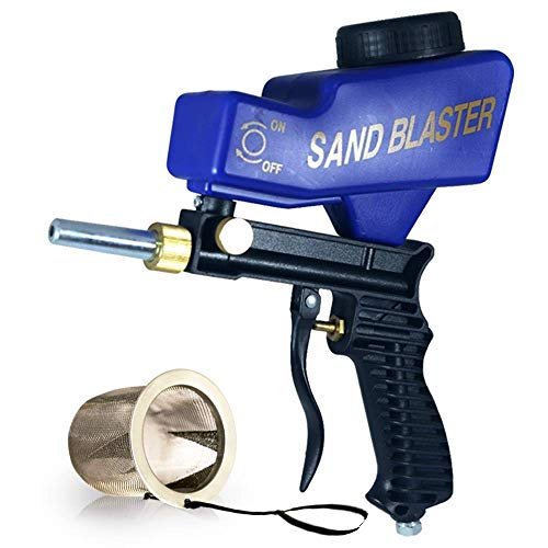Portable Sand Blaster, Media Blasting Nozzle Gun, Gravity Feed Sandblast Gun, Crafts, DIY, Glass & Mirror Etching Tool with Extra Tip - Blaster Kit Soda