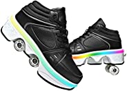 Roller Skate Shoes for Women Four Rounds Children's Roller Skates Shoes That Turn into Rollerskates Sneake