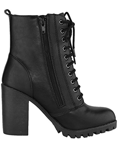 Boot Round up Chunky Women's Closed Lace Toe Black Pu Heel Combat Select Cambridge Moto xYtwSS