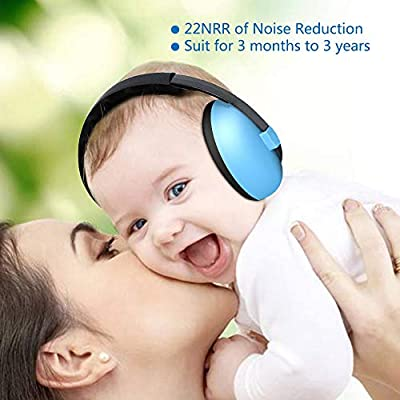 Baby Ear Protection Noise Cancelling Headphones for Babies 3 Months to 2 Years, Baby Ear Muffs for Concerts, Fireworks, Airplane, Outdoor-1 Pairs Baby Ear Plugs Included