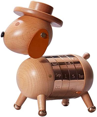 Walnuss Buche Classic Gentleman Hundekalender Ewiger Kalender Dekoration Kreative Geschenke Basteln Holzprodukte Tischkalender Dekorationen