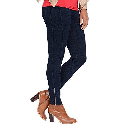 Lysse Women's Noho Denim Zip Leggings (Indigo,XL) (Zip Leggings Denim)