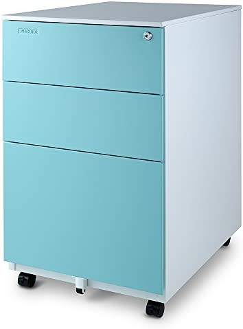 Aurora FC-103BL Fully Assembled Modern Soho Design 3-Drawer Metal Mobile File Cabinet with Lock Key, White Aqua Blue
