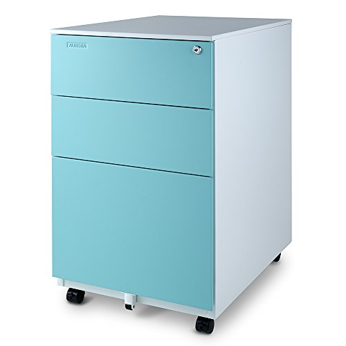 Aurora Modern SOHO Design 3-Drawer Metal Mobile File Cabinet with Lock Key Sliding Drawer (White/Aqua Blue), fully assembled File Cabinet With Lock