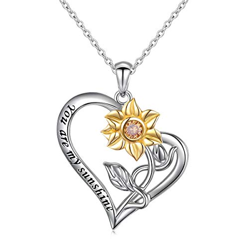 You Are My Sunshine In My Heart S925 Sterling Silver Sunflower with CZ Pendant Necklace for Women 18