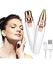 URAQT gezichtshaarverwijderaar voor vrouwen, 2-in-1 wenkbrauwtrimmer & gezichtshaarverwijderaar, oplaadbaar waterdicht pijnloos damesscheerapparaat voor lippen Neus Gezicht lichaam Peach Fuzz