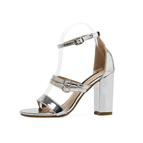 Good-memories Women Open Toe Strappy Ankle Strap Gold Sandals Block Thick High Heel Summer Sandals Silver Size (Traxxas Hanger)