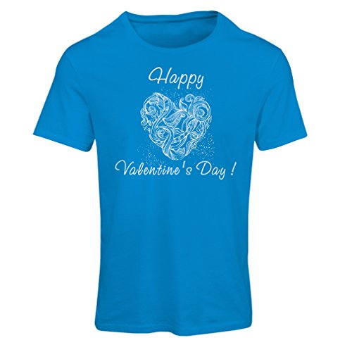lepni.me Women's T-Shirt Happy Valentine's Day! Heart Tattoo, I Love You Quotes (Large Blue Multi Color)