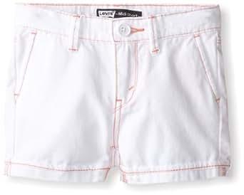 Levi's Little Girls' Midi Twill Short, White, 2T