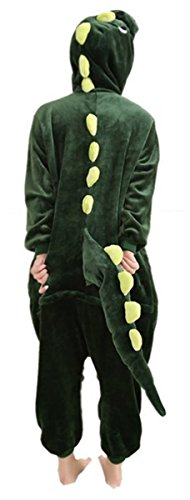 WOWcosplay New Kigurumi Pajamas Anime Cosplay Costume Unisex Adult Onesie Dress (S, Green Dinosaur)