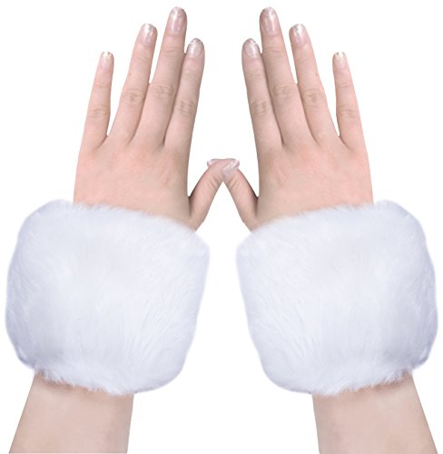 Amandir Women Faux Fur Wrist Cuffs Warmers, Faux Fox Fur Cuffs, One Size (White Faux Fur)