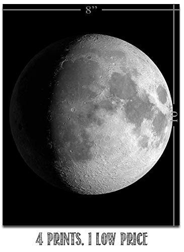 Moon Phases - Set of Four 8x10 Unframed Art Prints - Great Gift and Decor for Astronomers, Observatories and Home Under… 3