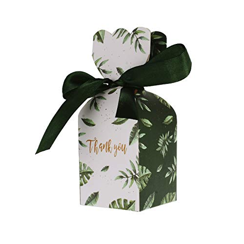 (Kmall 50PCS 5*5*6 cm Green Leaf Vase Style Wedding Gift Candy Sugar Favor Box Kraft Paper Gift Super Cute Decoration High Quality Perfect for Your Bridesmaids and Party Guests Baby Shower Birthday)