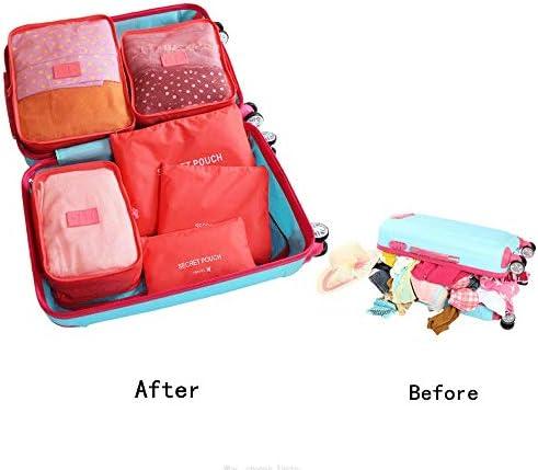 トラベルポーチ 旅行荷物オーガナイザーバッグ圧縮ポーチ服スーツケースのための6個入り防水パッキングキューブ値セット(色:スイカ赤) (Color : Watermelon red, Size : Free Size)