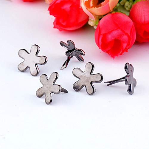 Garment Rivet - 50PCs Gunmetal Pastel Flower Brads Scrapbooking Embellishment Holiday Decoration & Gift 14x14mm F0736