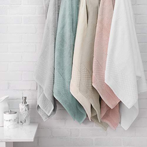 Welhome Hudson 100% Pure Organic Cotton 6 Piece Towel Set | White | Eco Friendly | Plush | Durable & Absorbent | Hotel & Spa Decorative Bathroom Towel | 651 GSM | 2 Bath 2 Hand 2 Wash Towels