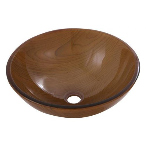 Aquabrass 97050 Round Light Brown Wood Tempered Glass (Aquabrass Round Basin)