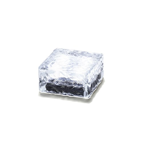 Solar Brick LED Landscape Light, Cool White, 4x4 Square Cube, Glass, Waterproof, Outdoor Use, Solar Panel & Rechargeable Battery Included