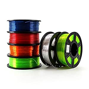 Tonglingusl 6pcs 3d printer filament petg 1.75mm 1kg/2.2lbs plastic filament consumables petg material for 3d printer (color : transparent blue, size : free)