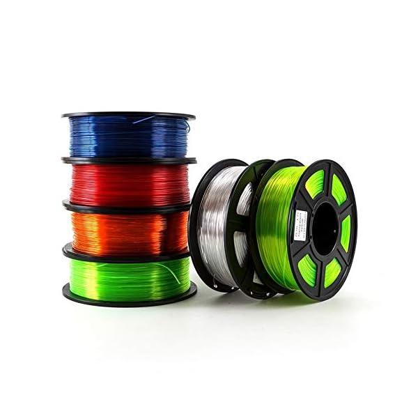 Tonglingusl 6pcs 3d printer filament petg 1.75mm 1kg/2.2lbs plastic filament consumables petg material for 3d printer (color : transparent, size : free)
