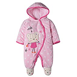 Yanzi6 Baby Toddler Cotton Long Sleeve Jumpsuit Front Button (3-6 Months, #K)