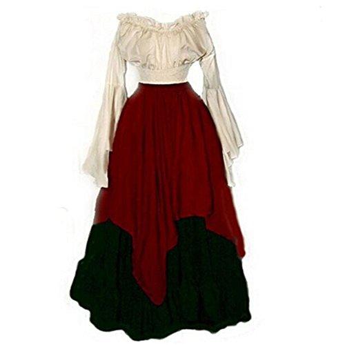 Ainiel Womens Trumpet Sleeve Costumes Vintage Renaissance Medieval
