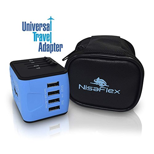 NISAFLEX Universal International Travel Power Adapter W/Smart High Speed 2.4A 4xUSB Wall Charger, European Adapter, Worldwide AC Outlet Plugs Adapters for Europe, UK, US, AU, Asia-Blue, All-in-one ()