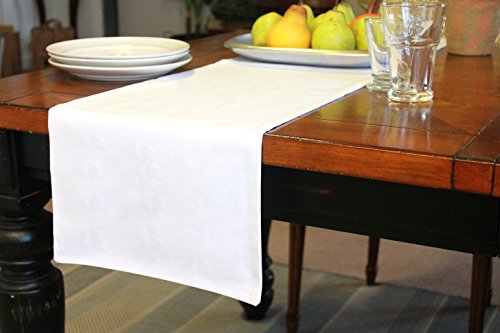 Lined - Double Sided - Made of Kona Cotton, Solid Colors, Short Table Runners for the Kitchen, Dining Room, Dresser, Spring, Xmas and Home Decor (White, 12.5